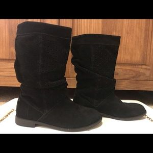 Toms Serra Black Suede Boots